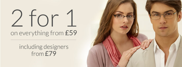 8c702cfff6b 2 For 1 Glasses with ANY Prescription Frame £59+ from Glasses Direct ™