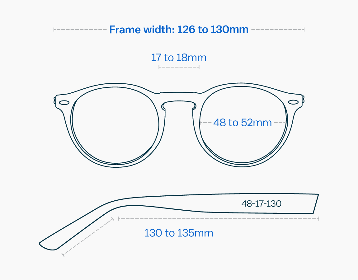 Measurements of a medium-sized glasses frame