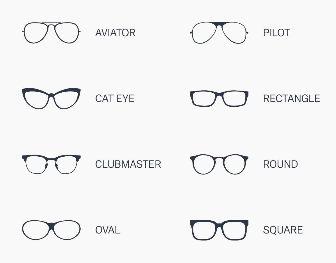 Frame shapes: Aviator, Cat Eye, Clubmaster, Oval, Pilot, Rectangle, Round, Square