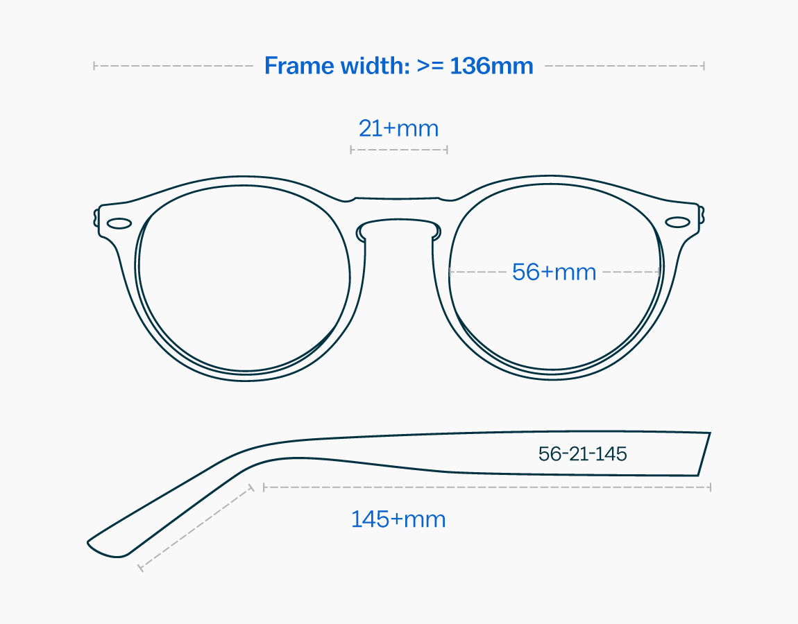 Measurements of an extra large glasses frame