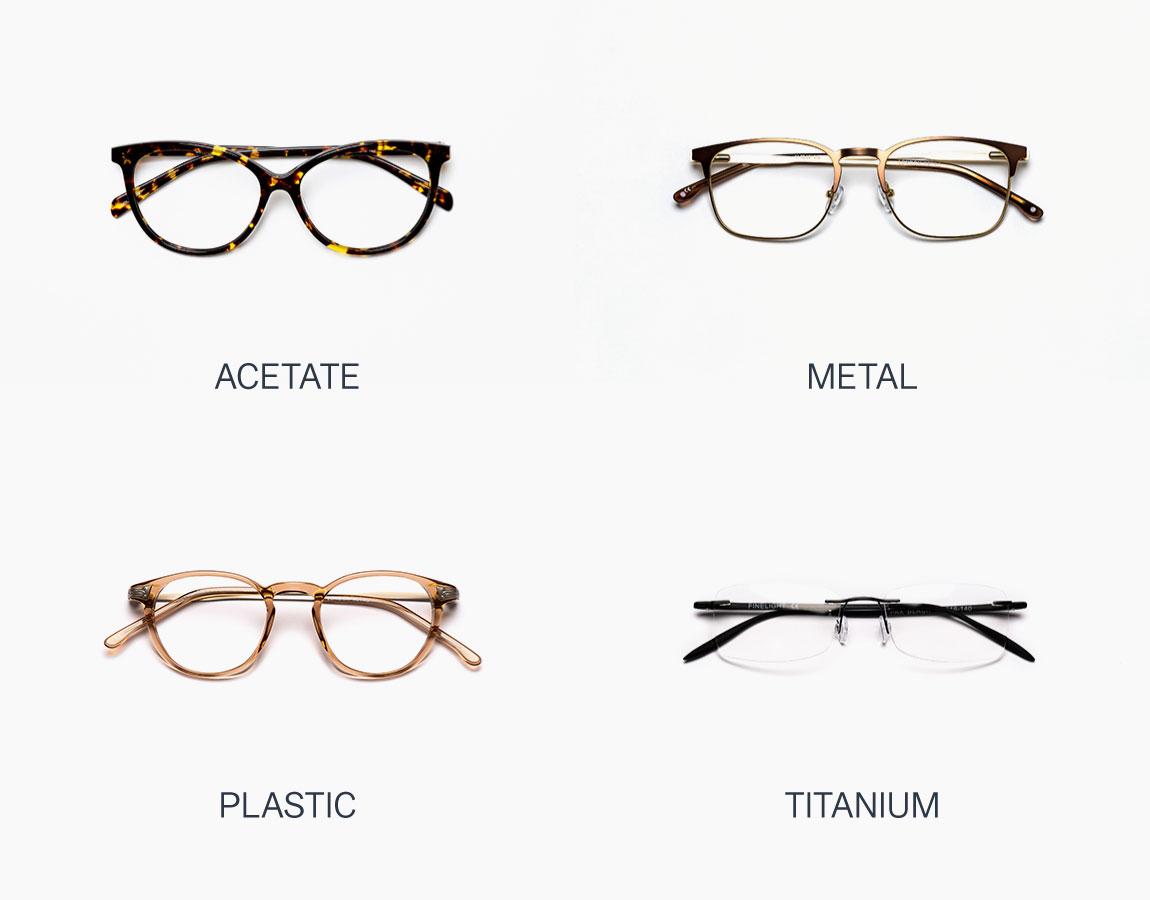Frame materials: acetate, metal, plastic, titanium