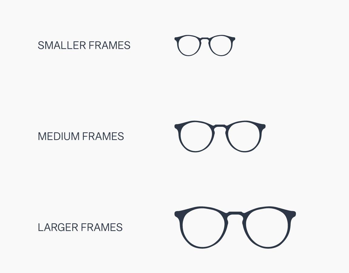 Frame sizes: small, medium, large