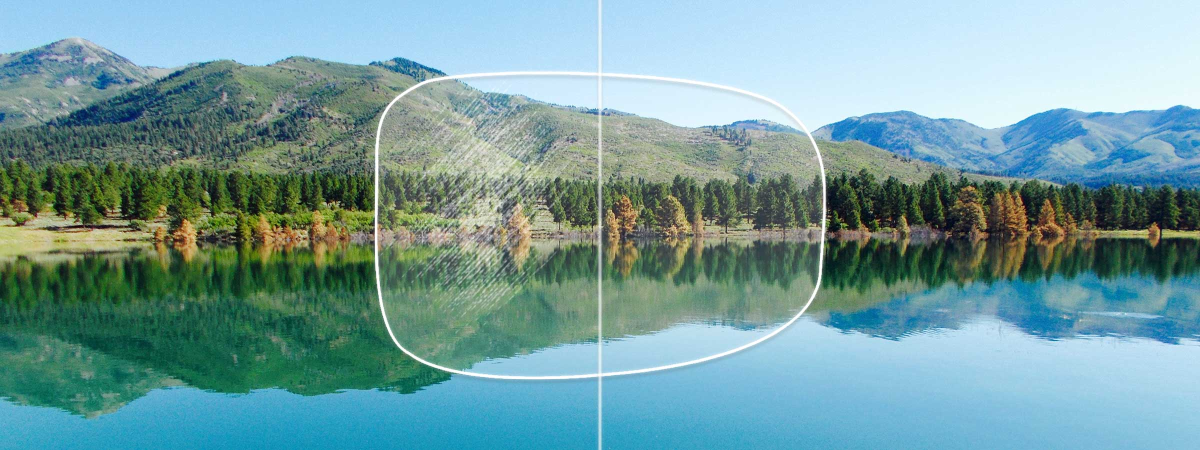 View of a lakeside forest through a lens with and  without a hard coating