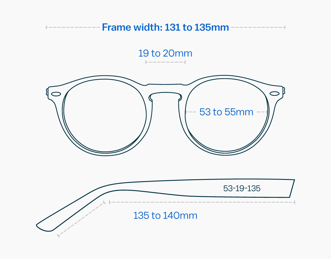 Measurements of a large glasses frame