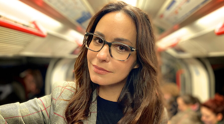 Woman wearing London Retro Max glasses
