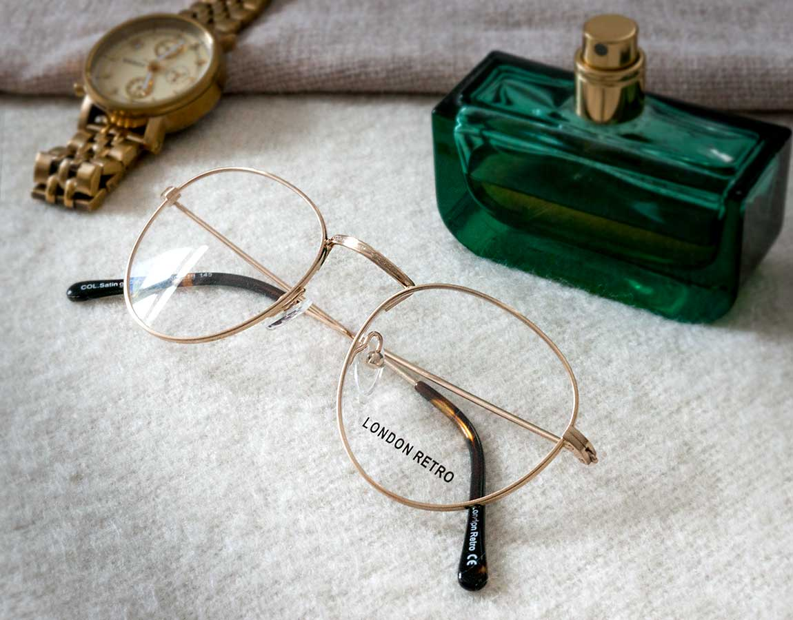 London Retro Camden glasses in Satin Gold