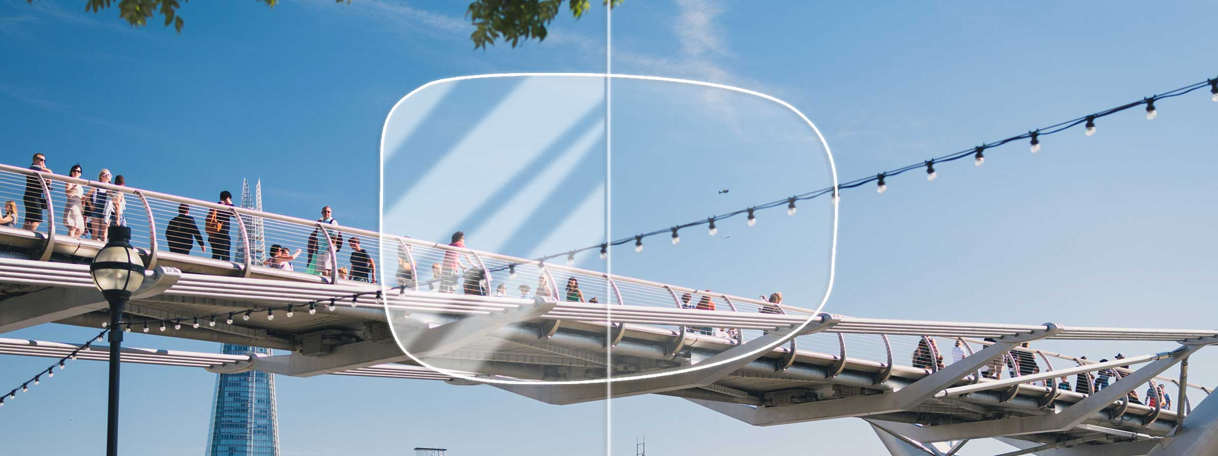 View of people on a bridge through a lens with and without an anti-reflection coating