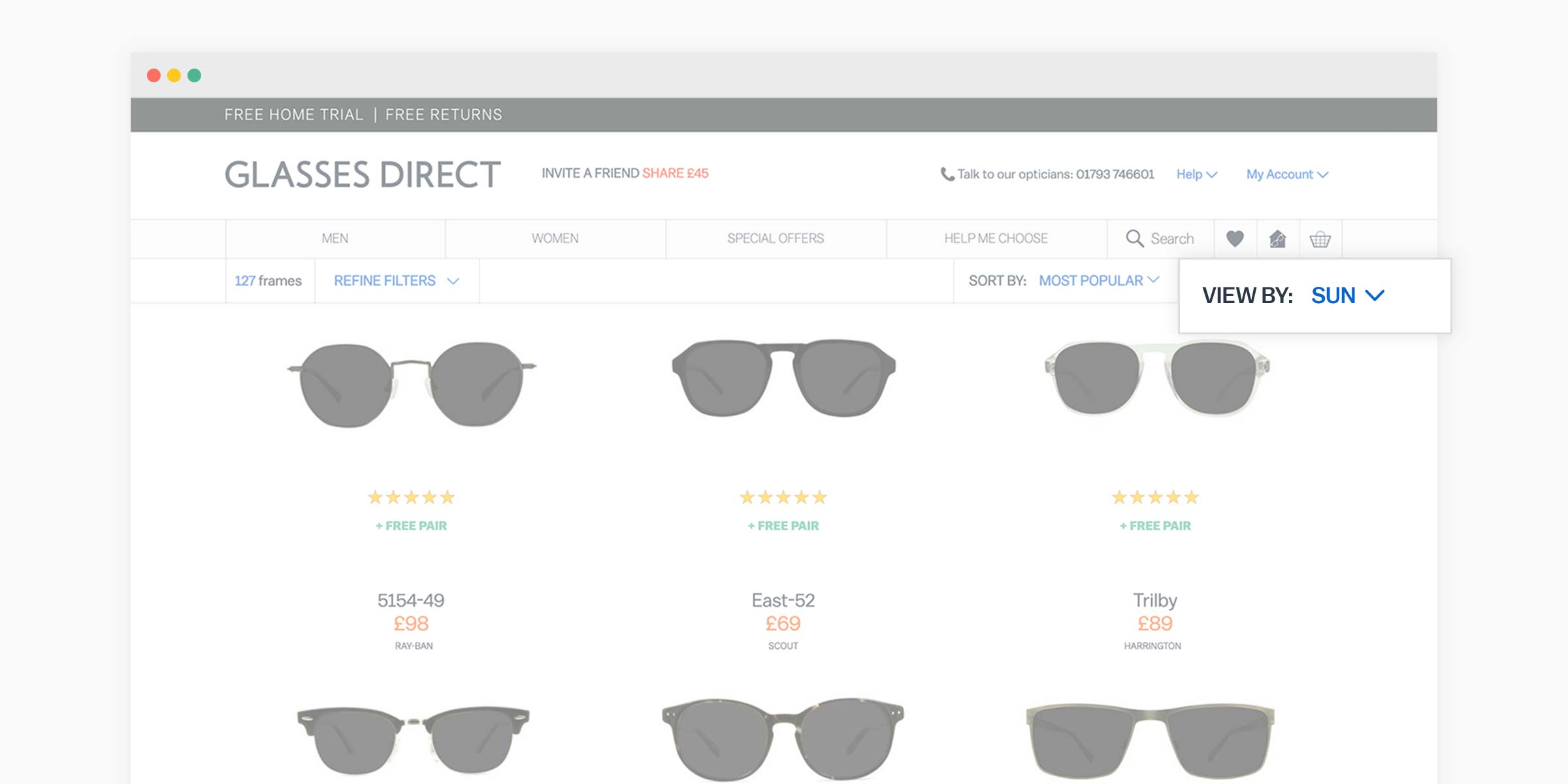 Glasses Direct product listing page with the 'View by: SUN' option highlighted to see prescription sunglasses