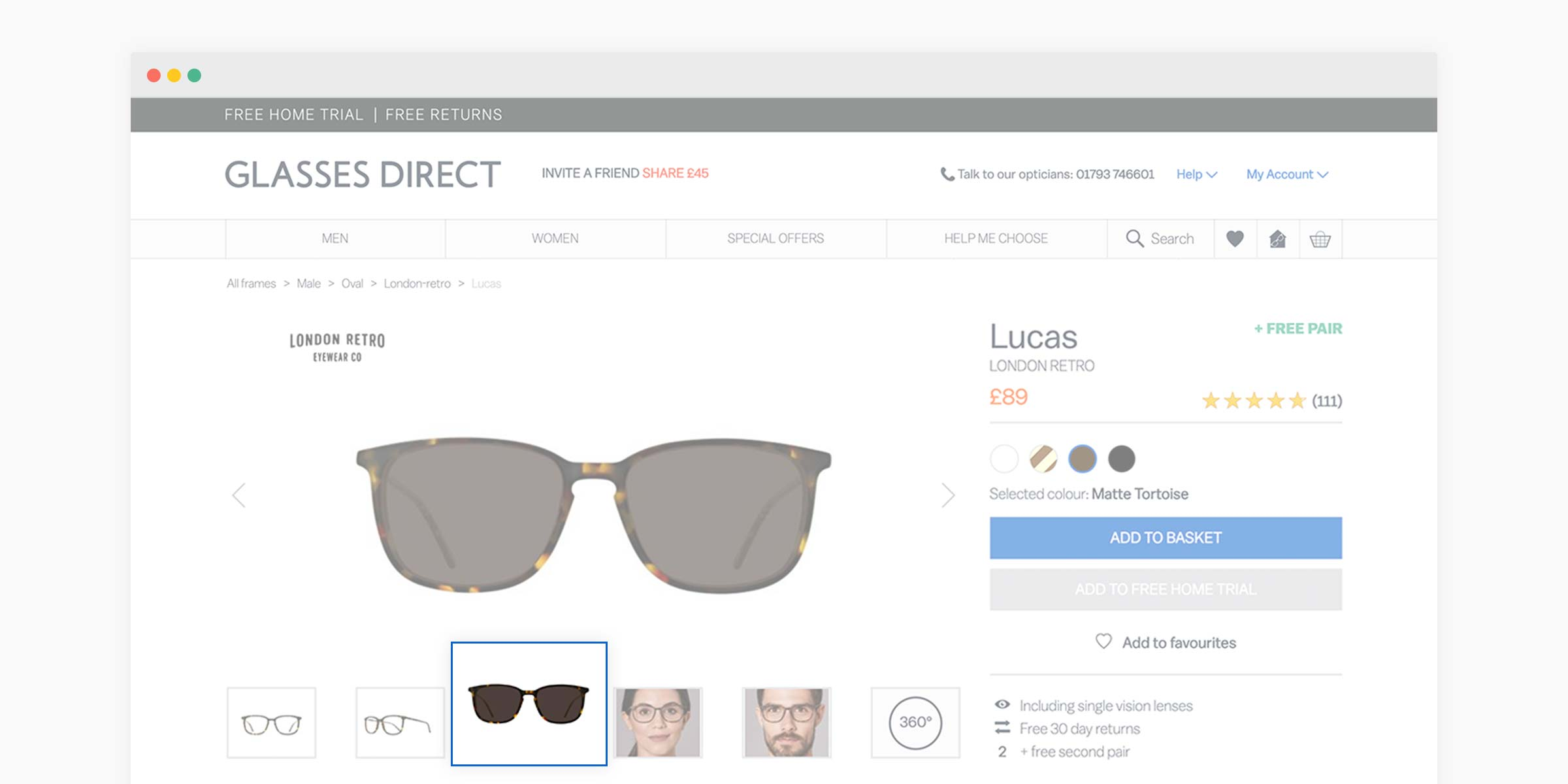 Glasses Direct product page with the preview image for tinted lenses highlighted