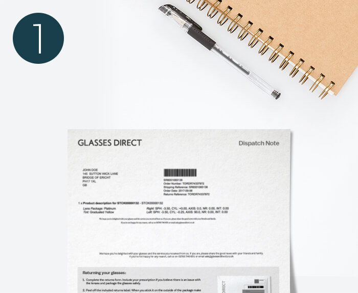 Glasses Direct returns form lying next to a pen and notebook