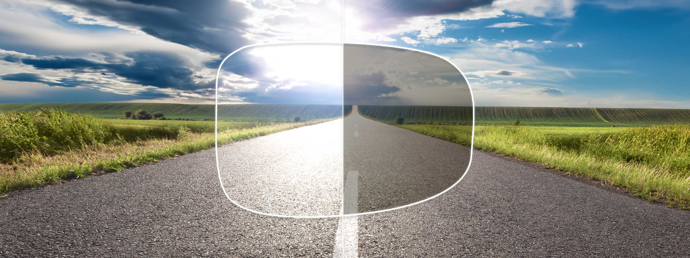 View of a country road through a lens with and without a polarised tint