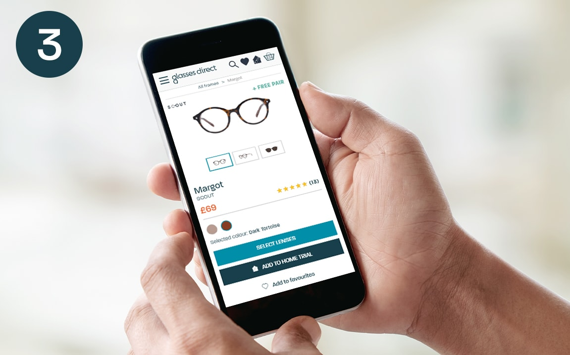 Someone viewing the Glasses Direct website on a mobile phone