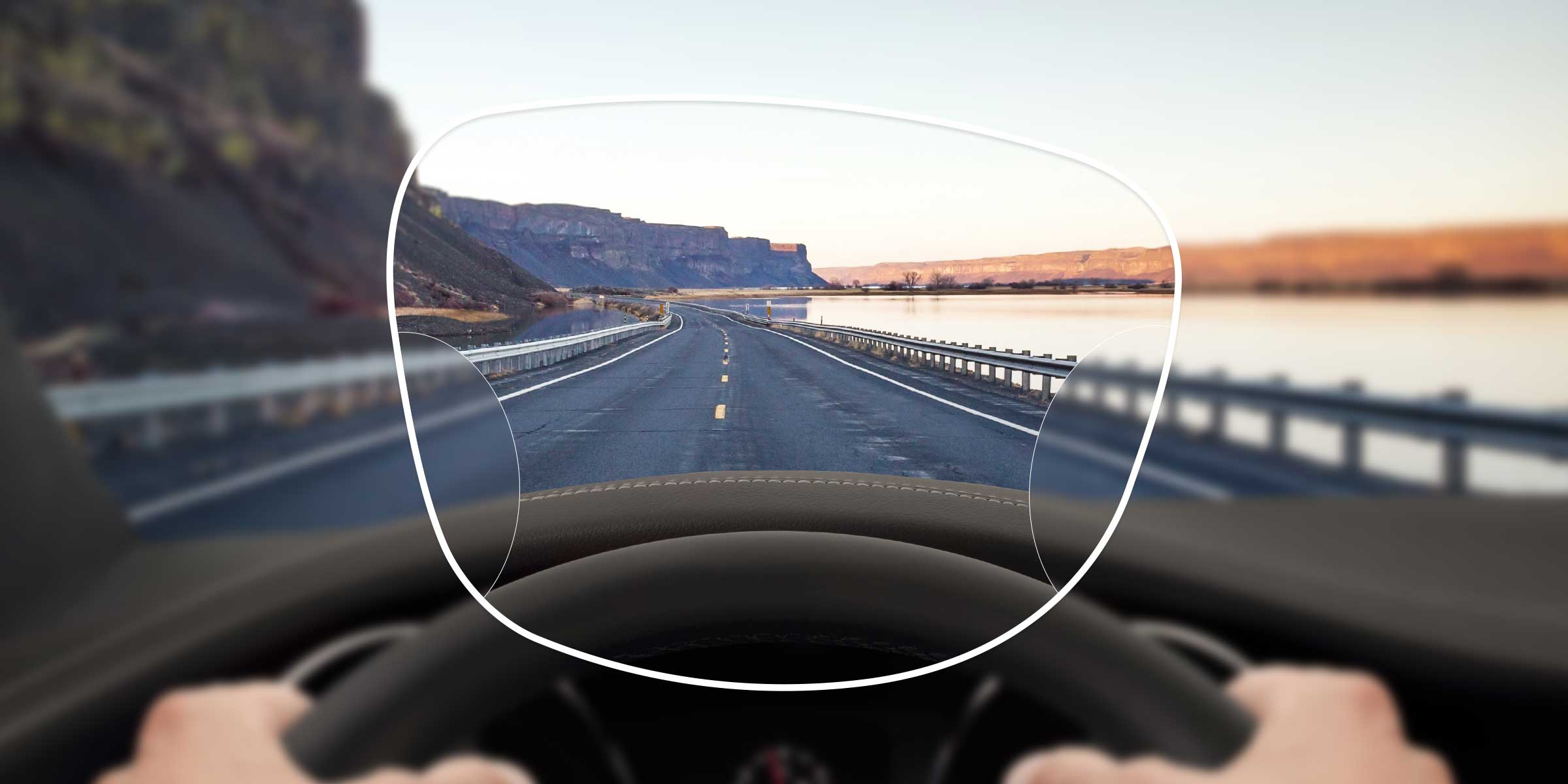 View of a motorway from the driver's seat through a varifocal supreme HD lens