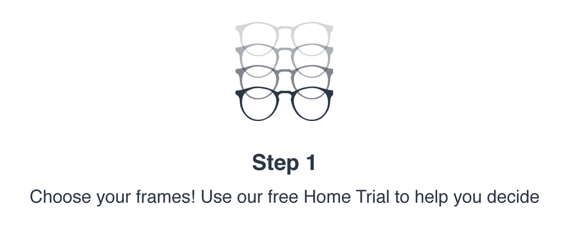 Step 1: Choose your frames! Use our free Home Trial to help you decide