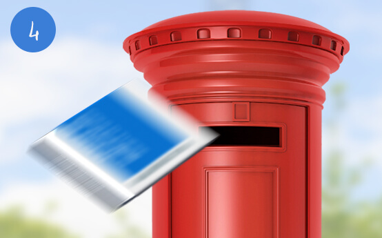 A Glasses Direct home trial box being put into a postbox