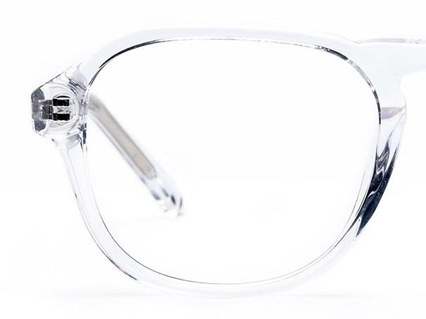 Half a pair of transparent glasses