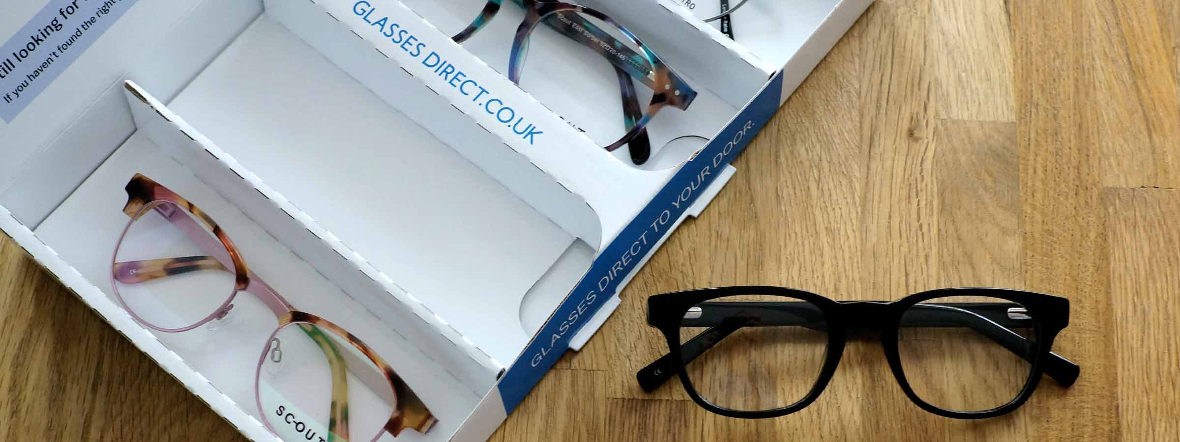Frames in a Glasses Direct home trial box