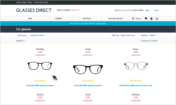 Glasses Direct product listing for NHS customers