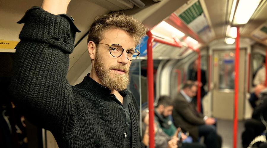 Man wearing London Retro Albany glasses