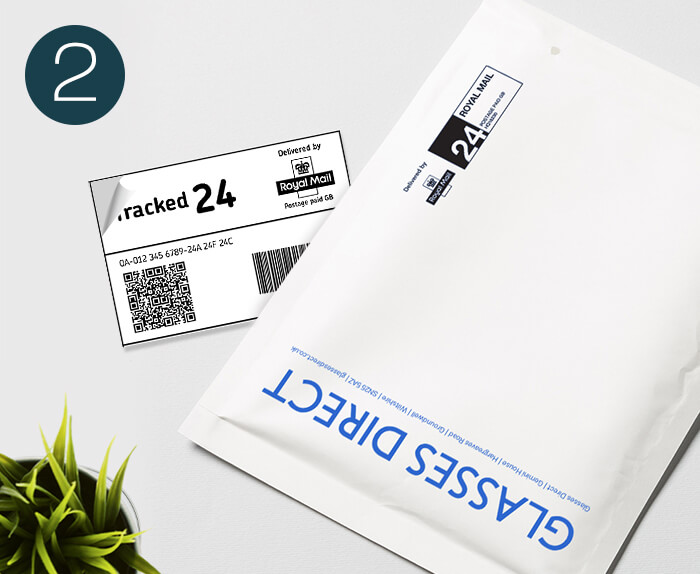 Glasses Direct padded envelope with free returns label