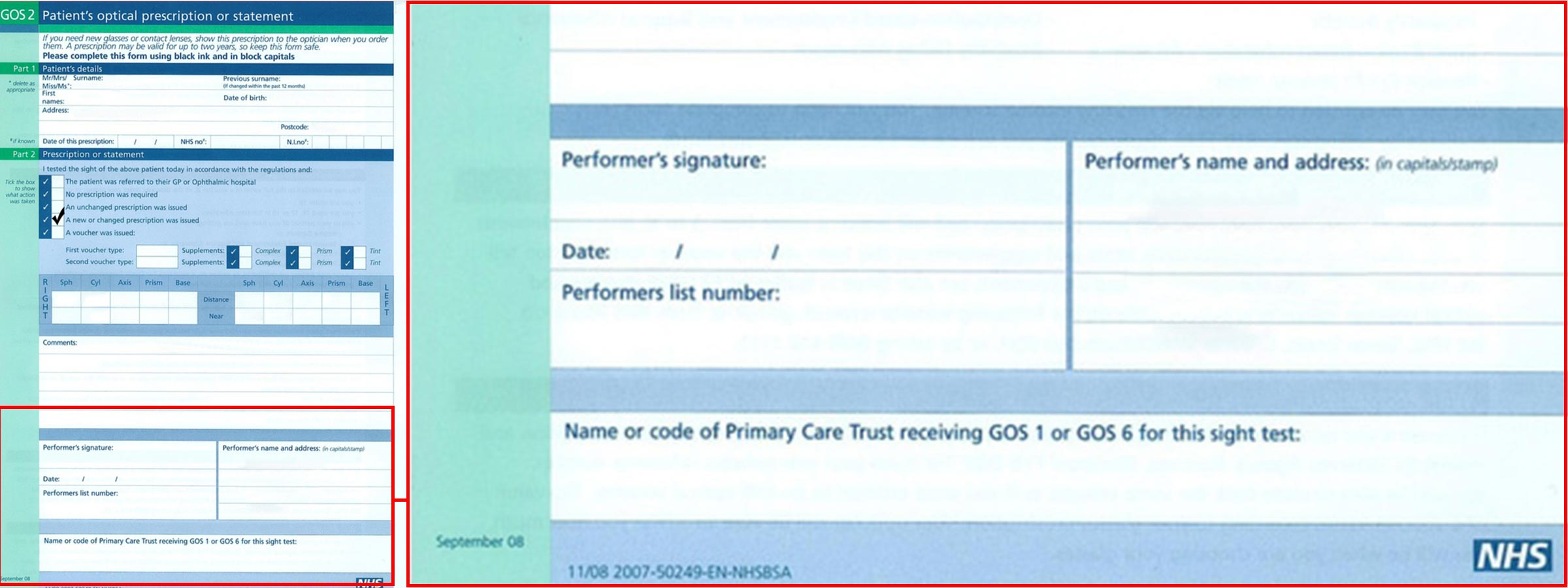 NHS optical prescription with the section highlighted that needs to be filled in for you to be able to use it at any store