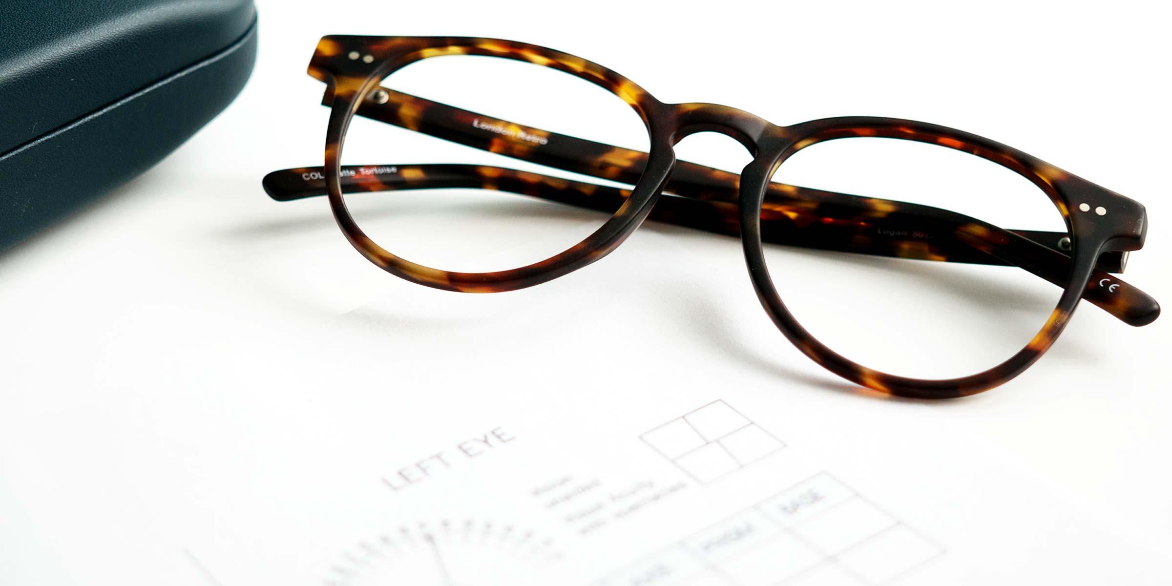 A tortoiseshell glasses frame