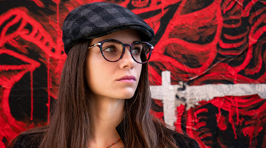 Woman wearing Scout made in Italy Genova glasses