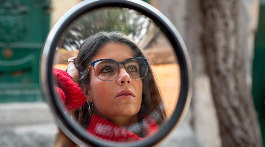 Woman wearing Scout made in Italy Milano glasses