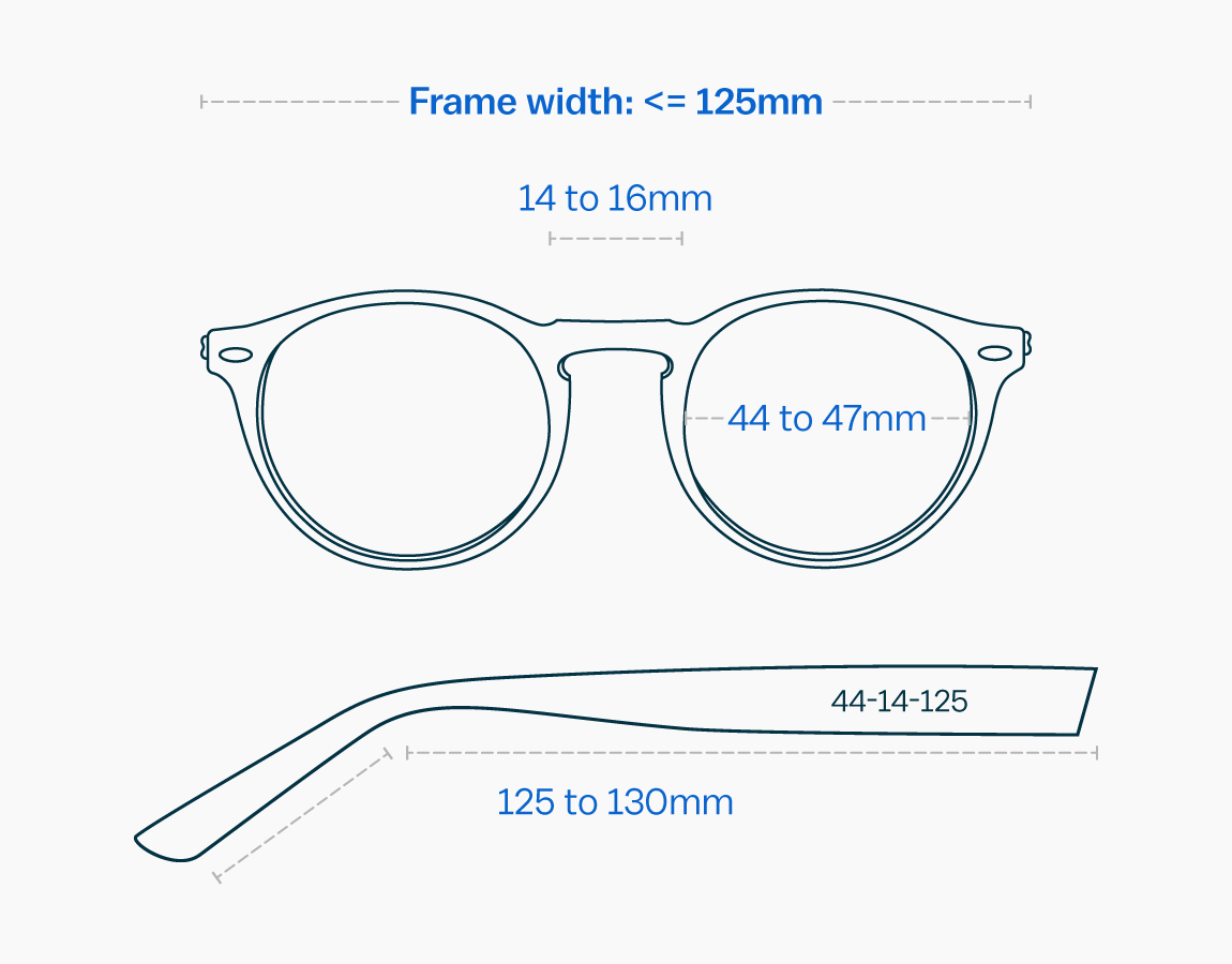 Measurements of a small glasses frame