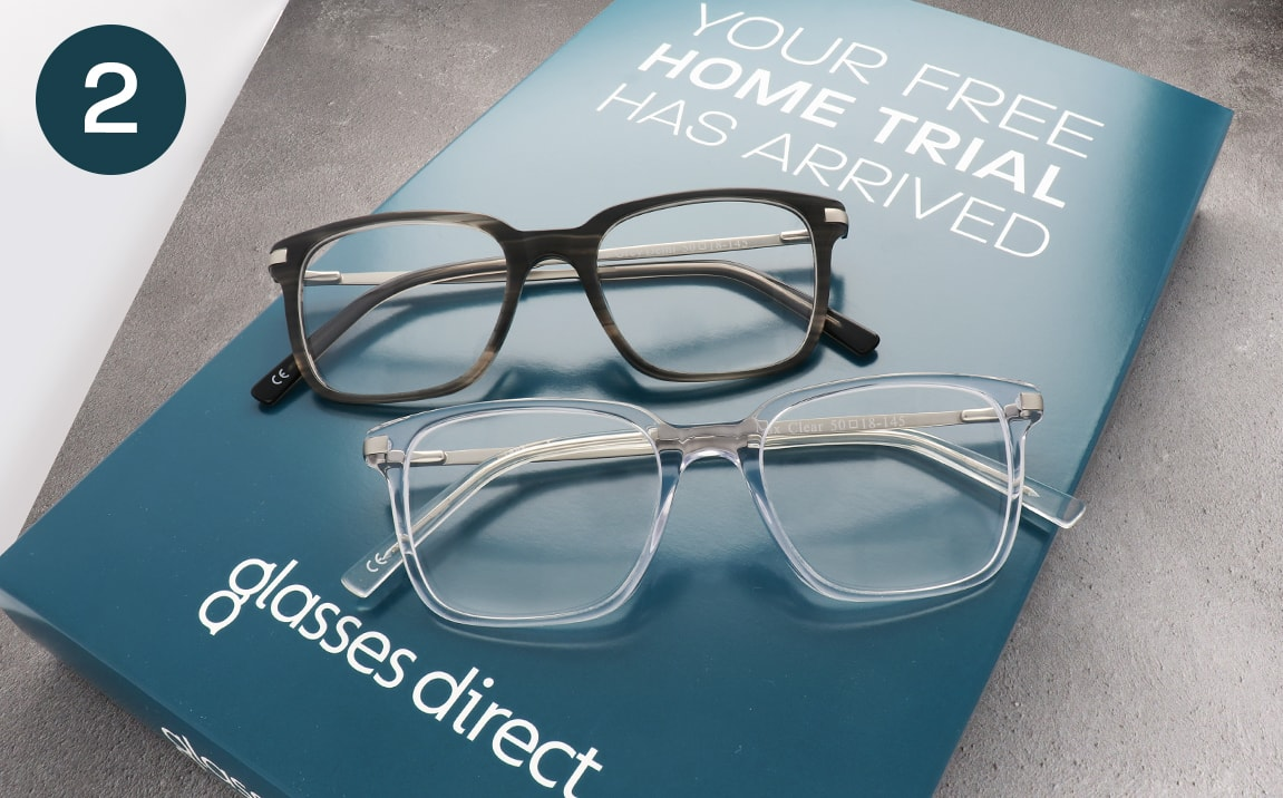 Frames on a Glasses Direct home trial box