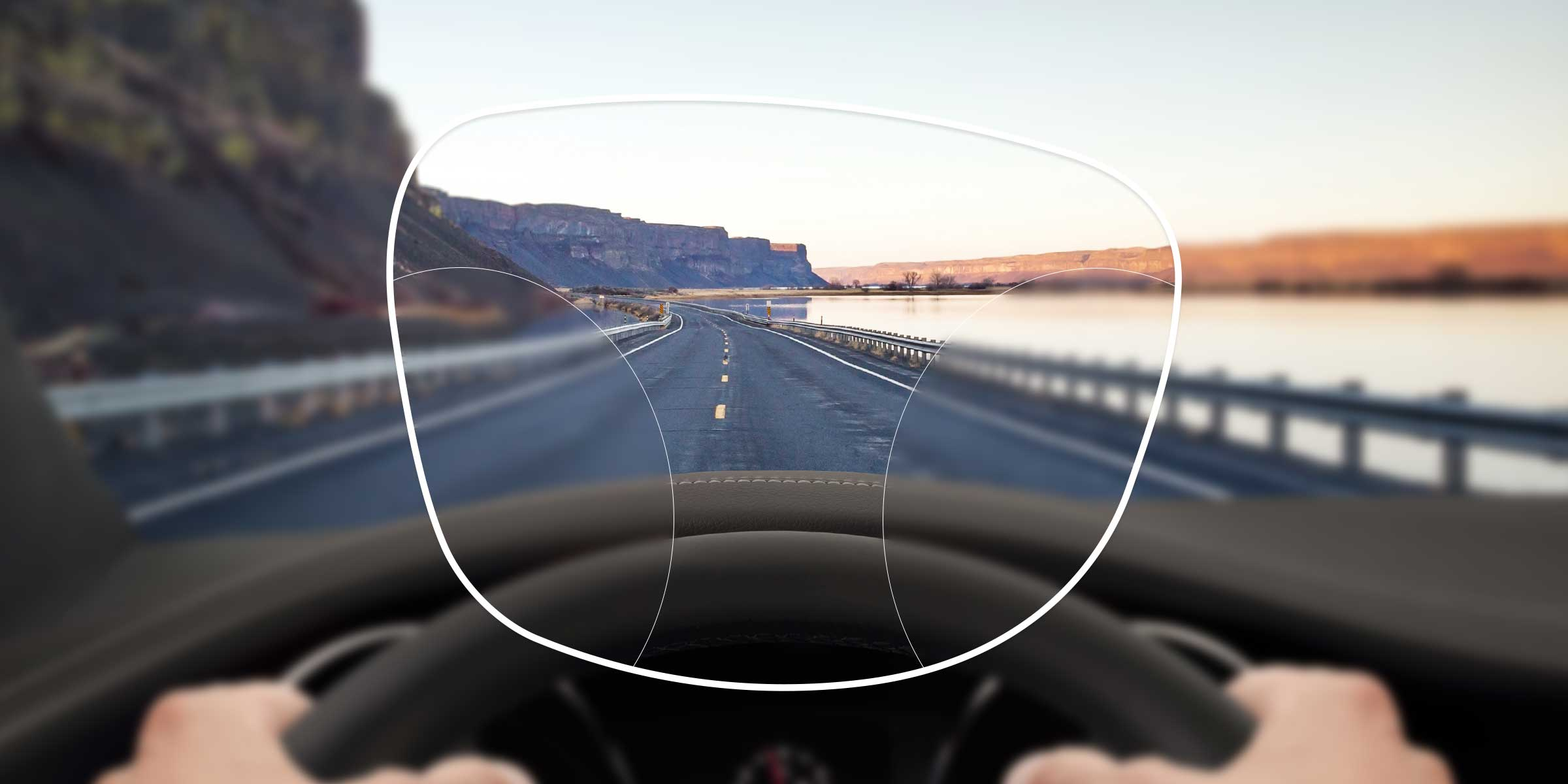 View of a motorway from the driver's seat through a varifocal advanced lens