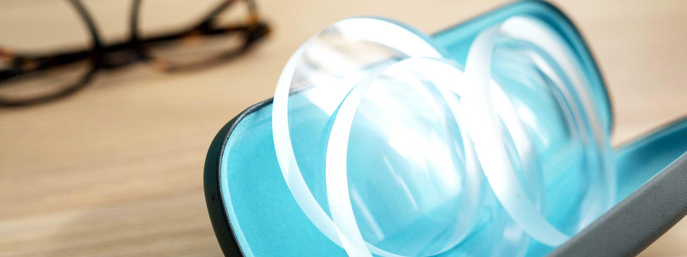 Lenses lying in a glasses case