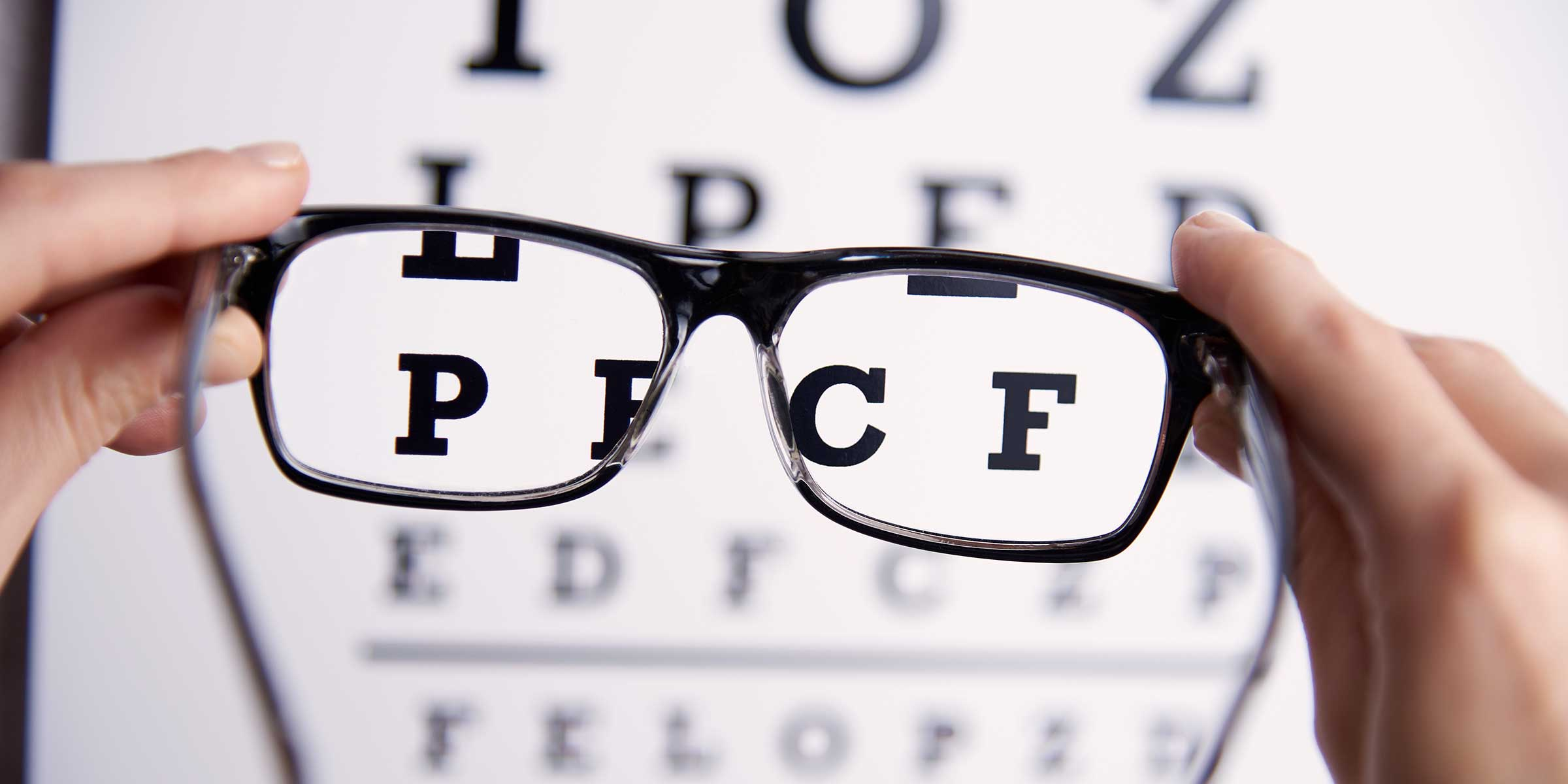 An eye chart appearing more focused through a pair of glasses