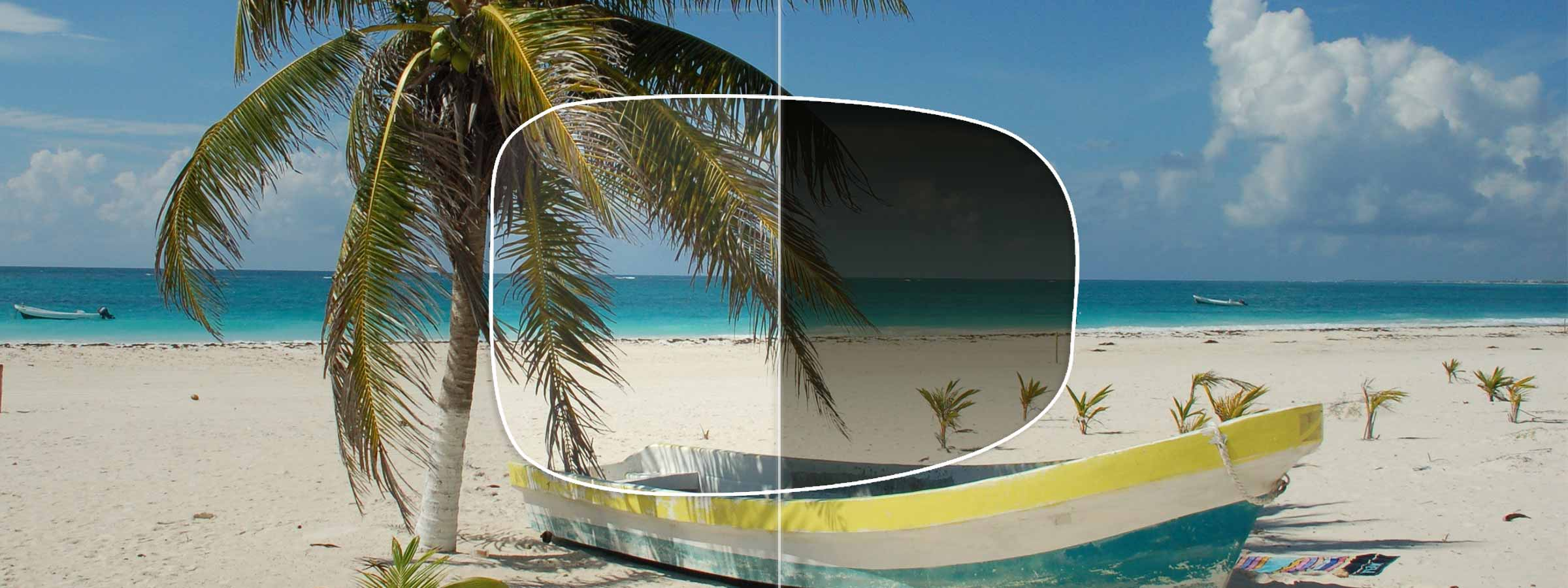 View of a sunny beach through a lens with and without a gradient tint